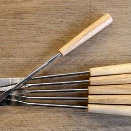 Fourchettes manche bois naturel 3-dents